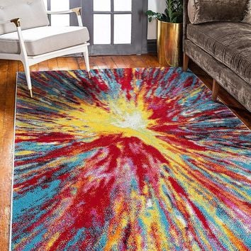 9707 Multi Color Abstract Contemporary Area Rugs