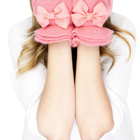 PINK RUFFLE GLOVES, pink knit gloves with bow, black knit gloves, knit bow gloves, wool