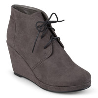 Journee Collection Women's 'Enter' Faux Suede Wedge Booties | Overstock.com Shopping - The Best Deals on Booties