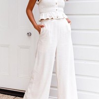 White Ruffle Single Breasted Off Shoulder Office Worker/Daily Wide Leg Long Jumpsuit
