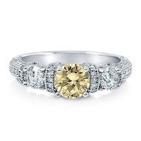 Round Canary Cubic Zirconia 925 Sterling Silver 3-Stone Ring 1.34 Ct #r528-car