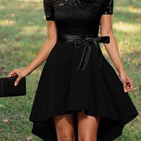 Black Lace Irregular Draped Sashes Off Shoulder High-low Elegant Party Midi Dress