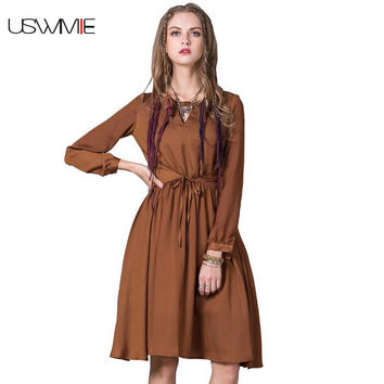 2017 Spring New Waistband Retro Lantern Sleeve Soft Dress Women Solid Color Hollow Out O-neck Simple Giant Swing Brown Vestidos