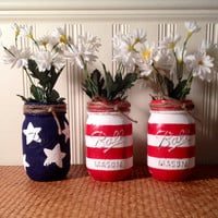 Patriotic Painted Mason Jars