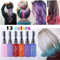 13 Colors One-time Hair Color Hair Dye Temporary Hair Color Mascara Dye Cream