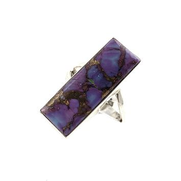 Purple Copper Turquoise Sterling Silver Oblong Ring