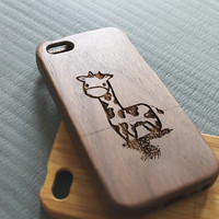 Walnut wood iphone 5c case giraffe iphone 5c case