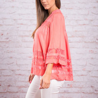 You Make It Easy Blouse, Coral