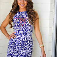 Take A Peek Dress: Navy/Ivory | Hope's