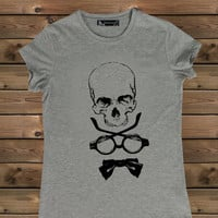 Women's Tshirt, Skull on a Bike Ladies Tshirt,Screen Printing Tshirt,Women's Tshirt,Gray Tshirt,Size S, M, L