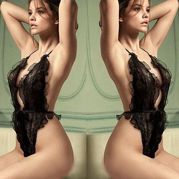 Temptation Lace Hollow Perspective Deep V Three-point Style Jumpsuit  Funny Underwear