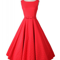 Red Lace Crochet Printed Sleeveless Sheath Tent Mini Dress