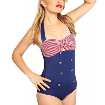 Pretty Attitude Women's 50's Sailor Ahoi Nautical One Piece Swimsuit
