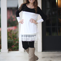 Lacy Luck Dress - Black and Ivory