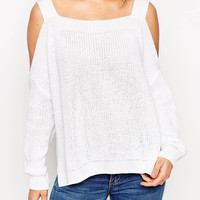 White Long Sleeve Sweater With Cold Shoulder and Split Sides