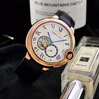 DCCK C044 Cartier Simple Business Leisure Automatic Machinery Leather Watchand Watches Black Rose Gold Blue