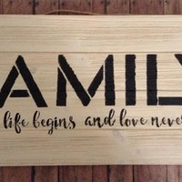 Rustic Wood Pallet Art, Farmhouse Country Chic Wall Decor, Family Where Life Begins And Love Never Ends Wood Plaque, Home Decor, Wall Art