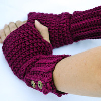Boysenberry fingerless gloves, arm warmers, wrist warmers, crochet arm warmers, crochet gloves, texting gloves, mittens, festival gloves
