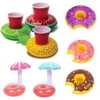 Mini Floating inflatable cup holder Swimming pool drink float toy cup stand Water piscina Mat Water Coasters zwembad accessories