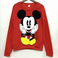 2017 Pullover Hoodies Mickey Character Printed O-neck Character Printed Red White Kawaii Style  Sweatshirt for Women's Tracksuit