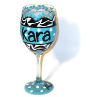 Hand Painted Wine Glass - Custom Personalized Glass - Zebra Print with Aqua - Polka Dots - Everday Wine Glasses - Little Big Glasses