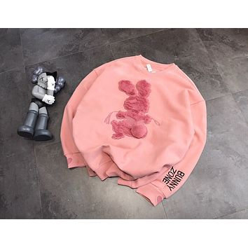 Pink Sweet Cute Rabbit Letter Embroidery Long Sleeve Sweater Women Casual Round Neck  Tops