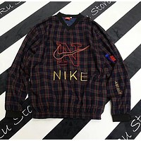 Nike Stylish Women Retro Plaid Pattern Embroidery Long Sleeve V Collar Sweater Top I13620-1