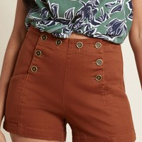Start Off Stylish High-Waisted Shorts in Rust