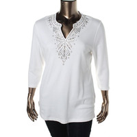 JM Collection Womens Cotton Embellished Pullover Top