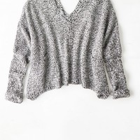 AEO Women's Don't Ask Why Cropped Pocket Sweater (Grey)