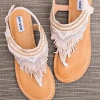 The Dancing Gypsy Embellished Fringe Suede Sandals In Blush