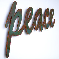 peace sign wall art metal green rust patina by FunctionalSculpture