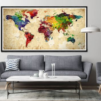 Highly detailed world map art, world map wall art, world map large, world map poster print -L12