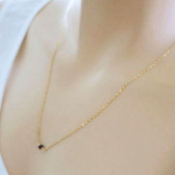 Minimal Gemstone Garnet Necklace Dainty Gold Silver Gift Everyday Jewelry