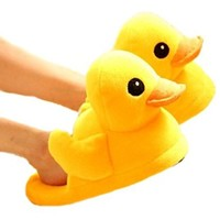 Cute Rubber Duck Winter Warm Slippers Plush Slippers for Women (4-8)