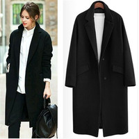 UK 2017 Fall / Winter Women Notched lapel Single Button Simple Long Coat ZA style Career Overcoat manteau femme casaco feminino