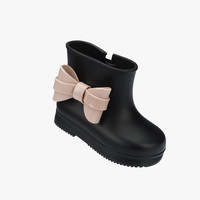 Mini Melissa Bow Rubber Rain Boots - Black with Pink Bow - 32154