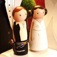 Original 3-D Star Wars Cake Topper - 3D Hans Solo and Princess Leia  -Peg Doll Wedding Cake Toppers -3-D Accents