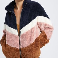 Color Block Teddy Jacket