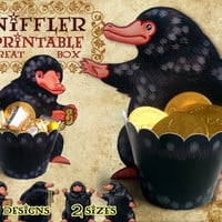 Niffler Printable Treat Box, Fantastic Beasts party, Harry Potter favor box, candy, birthday, cupcake wrapper, jewelry box, Scamander PDF