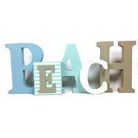 Beach - Decorative Free Standing Letter Sign - 12-1/2-in