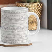Gray Aztec Pattern 12oz Coffee Mug / coffee mug design / grey / tribal pattern / aztec pattern / aztec tribal / aztec coffee mug / tribal