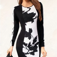 Black And White Longsleeve Bodycon Midi Dress