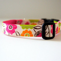 Bright Floral Dog Collar Adjustable Sizes (XS, S, M)