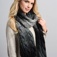 Ombre Cable Knit Scarf - Black