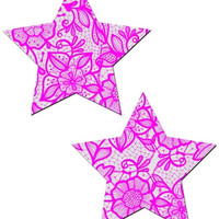 White and Pink Flower Lace Star Pasties