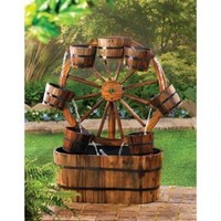 Wagon Wheel Garden Water Fountain