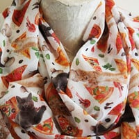 Pizza Cat Scarf Cat Infinity Scarf Animal Scarf Birthday Gift Cat Lover Gift Christmas Gift For Her Pet Mom