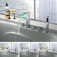 Sumerain LED Thermal Waterfall Bathtub Faucet Set