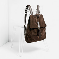BROWN LEATHER BACKPACK DETAILS